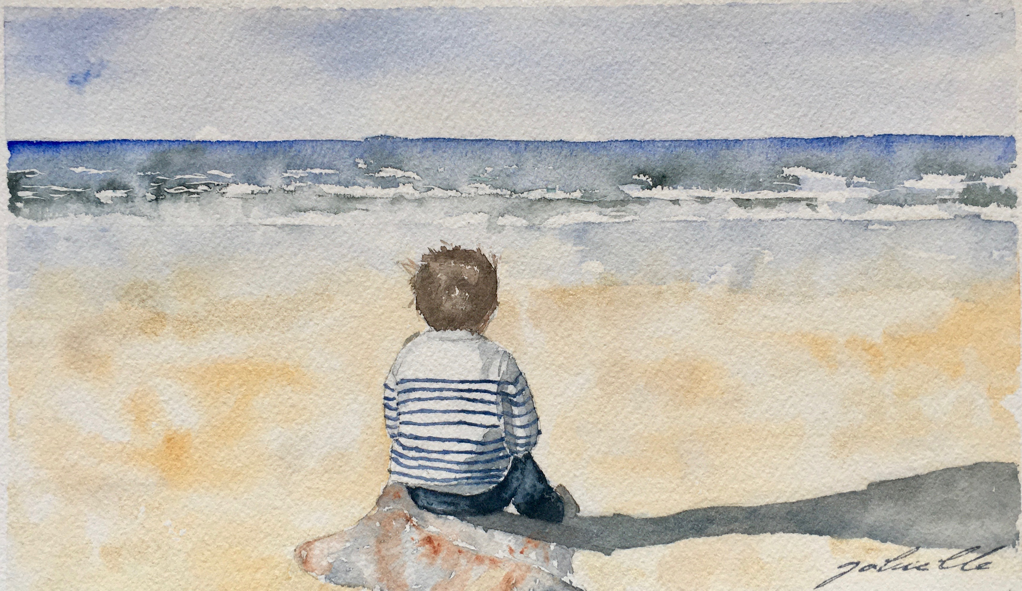 Petit bonhomme face à l'océan